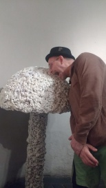 A visitor gets up close and personal with the work of artist Christiaan Nagel